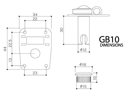 GOTOH GB10 Dimension Diagram