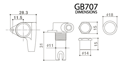 GOTOH GB707 Dimension Diagram